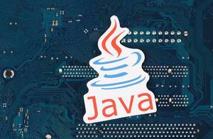 Java programming logo over electronic circuit board background