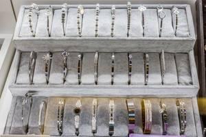 Jewelry shop window with bracelets