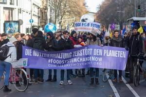 """Jugendliche halten ein Banner mit """"Die Nutztierhaltung zerstört den Planeten """" hoch"""