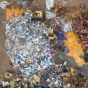 Junkyard with colourful metal trash
