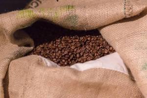 Jutesack voll mit Kaffeebohnen