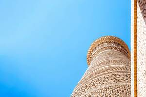 Kalyan Minaret of Bukhara, located in Po-i-Kalyan mosque complex in Bukhara, Uzbekistan