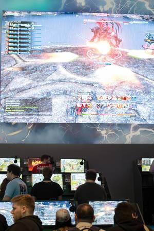 Kampf gegen einen Boss-Gegner in Final Fantasy XIV Online