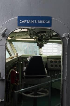 Kapitänsbrücke auf dem Flugzeugträger Intrepid in New York City, USA