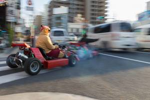 Kart race in the city wearing a funny costume - Tokyo