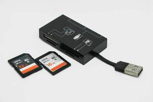 Kartenleser mit zwei SD-Karten auf weißem Hintergrund