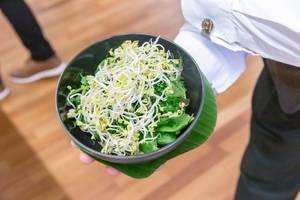 """Kellner serviert die """"Vegan bowl"""" - Vegan Schüssel mit Sprossen, beim Barcamp OMWest 2019 von AXA, in Köln"""