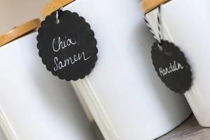 Keramik-Behälter mit Holzdeckel für Chia und andere Samen und Nüsse