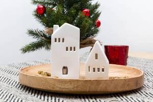 Keramikhäuschen weiß Weihnachten