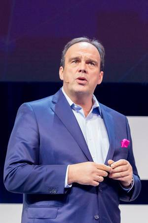 Keynote speech by Hagen Rickmann (Telekom Deutschland GmbH) on the Inspiration Stage of the Digital X Event in Cologne, Germany