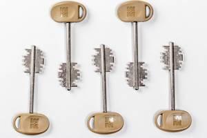 Keys to the door lock on white background (Flip 2019)