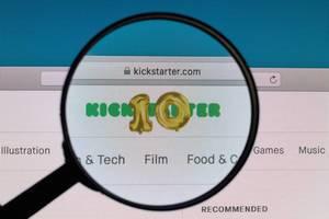 Kickstarter logo under magnifying glass