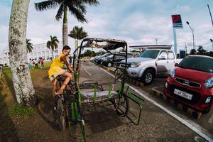 "Kid riding a ""Trisikad"", Bacolod"