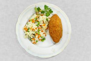 Kiev cutlet with rice and vegetables (Flip 2019)