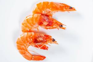 King prawns on white background