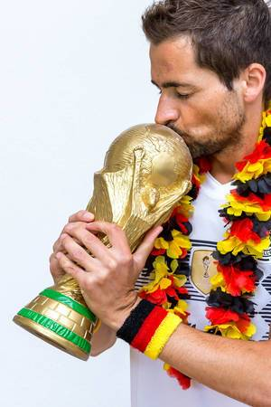 Kissing the World Cup Trophy