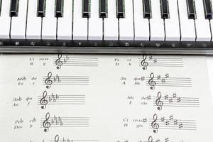 Klaviernoten und mit Klaviertasten von oben fotografiert