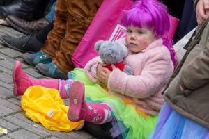 Kleines Mädchen mit rosafarbenen Haaren, bunten Klamotten und Teddy - Kölner Karneval 2018