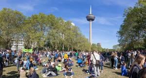 Klima Demonstranten genießen den sonnigen Tag in einer Grünanlage