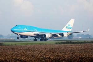 KLM B747 taking off from Amsterdam Airport, AMS