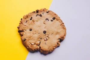 Konzept Food-Fotografie: Selbstgebackener Keks mit Schoko- und Nussstücken auf gelb/lila Untergrund - Nahaufnahme in Draufsicht