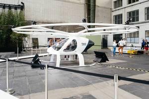 Konzept von Volocopter für zukünftige Mobilität durch Passagierdrohnen