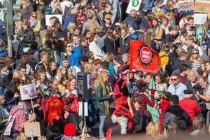 """Kostümierte Demonstranten mit """"Stopp Kohle jetzt"""" Fahne aktivieren die Mitdemonstranten"""