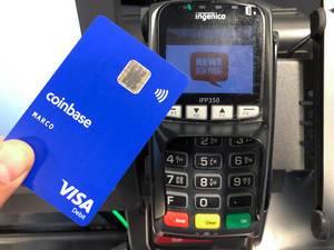 Krypto-Visakarte Coinbase wird zur Kartenzahlung im Rewe-Supermarkt verwendet
