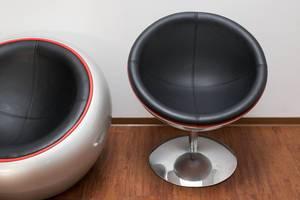 Kugel-Sessel aus Leder und rostfreiem Stahl