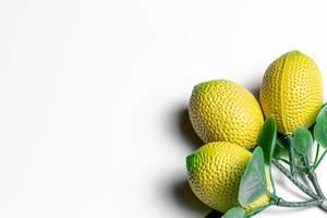 Kühlschrankmagnet in gelber Zitronen Form auf weißem Hintergrund
