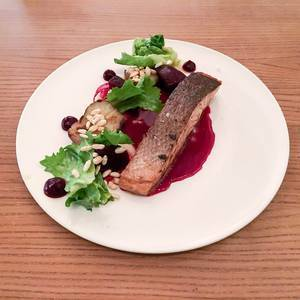 Label Rouge Salmon with beetrot Sunchoke and Endivie