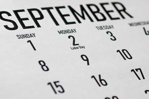Labor Day Concept. 2019 September Calendar