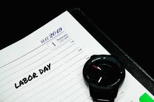 Labor day written on planner