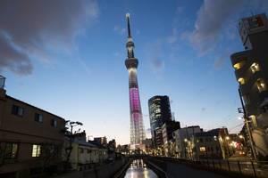 Langzeitbelichtung des Skytree, Tokyo