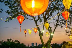Lanterns hanging over the Flower Street at Crescent Lake in Ho Chi Minh City