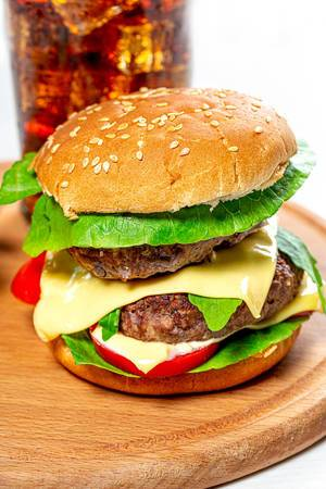 Large Burger with two cutlets, cheese and vegetables (Flip 2019)