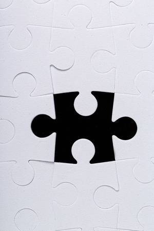 Last missing puzzle piece.Concept of unfinished task and nearing completion (Flip 2020)