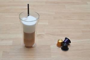 Latte macchiato from a Nespresso machine in a glass