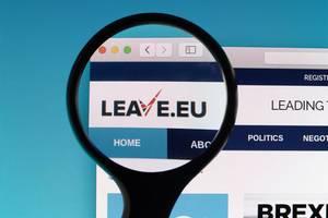 Leave.eu logo under magnifying glass