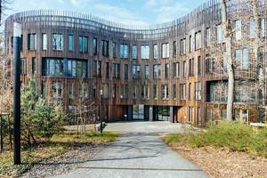 Lecture wooden building of Potsdam Institute for Climate Impact Research