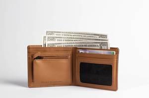 Lederne Brieftasche mit herausgezupften Dollarnoten und Bankkarten vor weißem Hintergrund