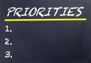 Leere Prioritätenliste mit dem Titel PRIORITIES und drei freien, nummerierten Zeilen