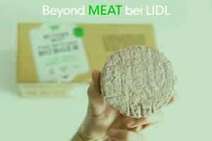 LIDL verkauft den Kult-Burger Beyond Meat, für eine vegane Ernährung ohne Gluten und Soja, in der zehner Box