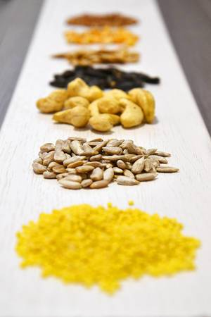 Lineup of spices and nuts: sunflower seeds and cashews