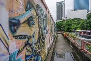 Lion Graffiti on a Wall at the Canal in Bangkok, Thailand
