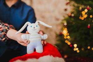 Little Christmas Bunny Toy With Lights On Background (Flip 2019)