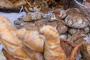 Loafs of black bread at Naschmarkt in Vienna