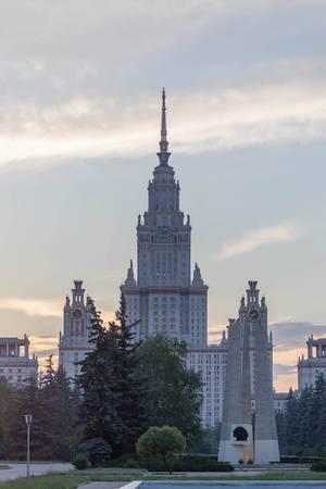 Lomonossow-Universität Moskau früh am Morgen