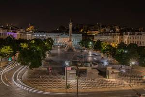 Long exposure of Rossio square at night