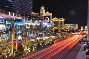 Long Exposure Shot of Las Vegas Strip at Night with Bellagio and Caesars Palace